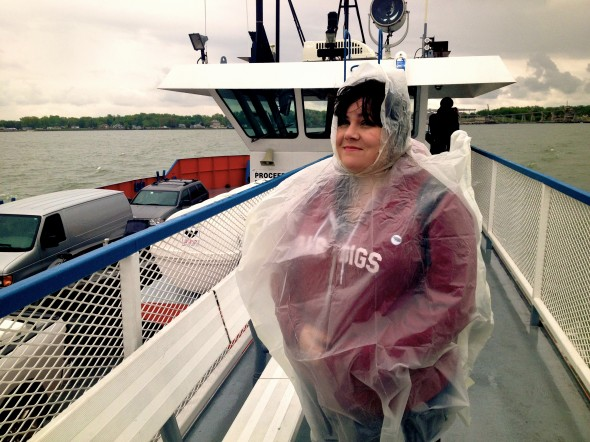 On a boat in the rain in the middle of Lake Erie. (Photo by Anthony Fife)
