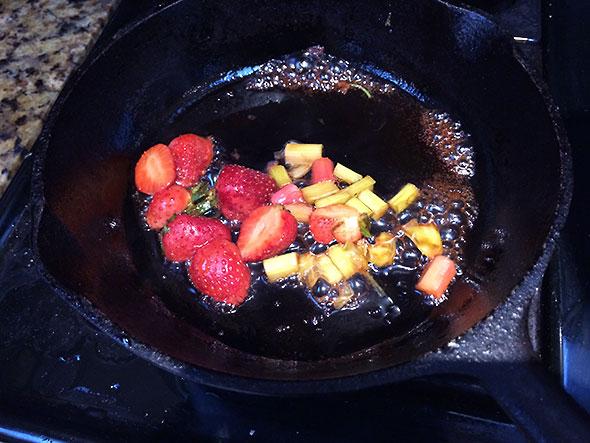 melting rhubarb