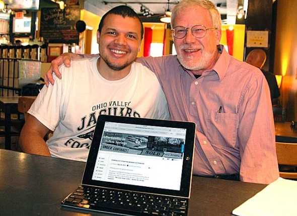 Antioch College student Guy Mathews, left, and villager Steve Deal recently co-founded a new political party, Aretê, which seeks to use online forums to create a form of popular democracy in Yellow Springs. (Photo by Megan Bachman)