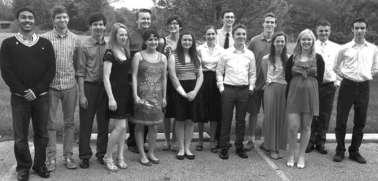 This year's Yellow Springs High School inductees to the National Honor Society are, from left, Edward Johnson, Liam Creighton, Josh Seitz, Rachel Hammond, Alex Kellogg, Anna Knippling, Francesca Brecha, Jennifer Lawson, Izzy Long, Dylan Boczar, David Butcher, Morgan Beard, Claudia Peterson, Mollye Malone, Ian Chick and Ben Ihrig. Not pictured is Kara Edwards. (submitted photo)