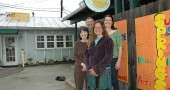 Yellow Springs Arts Council Board President Jerome Borchers, top left, is shown with the group's part-time employees, clockwise from top right, Holly Underwood, Lara Bauer and Nancy Mellon. Since the Morgan Foundation last year cut back on funding, the arts group is finding new ways to sustain itself, including an online fundraising effort to pay rent for its gallery. (Photo by Diane Chiddister)
