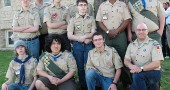 The local Boy Scout Troop 78 celebrated its 75th anniversary last week with a potluck at John Bryan day lodge for current and former scouts. Pictured in front of the First Presbyterian Church where the troop meets each month are current officers and scout masters, including, back row, from left, Andrew Kraus, Paul Evans, Nathan Hardman, Alex Kraus, Thomas Cunningham, Brian Upchurch and William Evans. In front from left are William Gray, Weymar Osborne, Lake Miller and Mike Miller. (photo by Lauren Heaton)