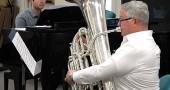 Hans Marlette performed on the tuba last Thursday, June 19, at the Yellow Springs Senior Center's Third Thursday Potluck. Accompanying him is pianist Sam Reich, a Senior Center regular. (Photo by Matt Minde)