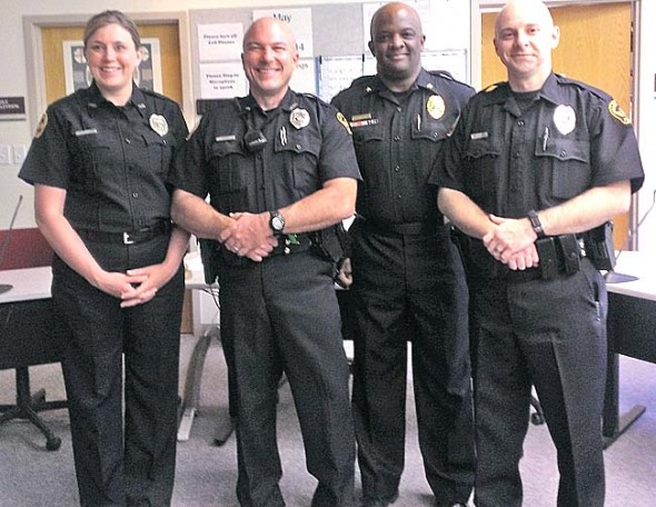 Police Chief Anthony Pettiford, second from right, are, from left, Stephanie Spurlock, Jeff Beam and Randall Hawley. (Submitted photo by Judy Kintner)