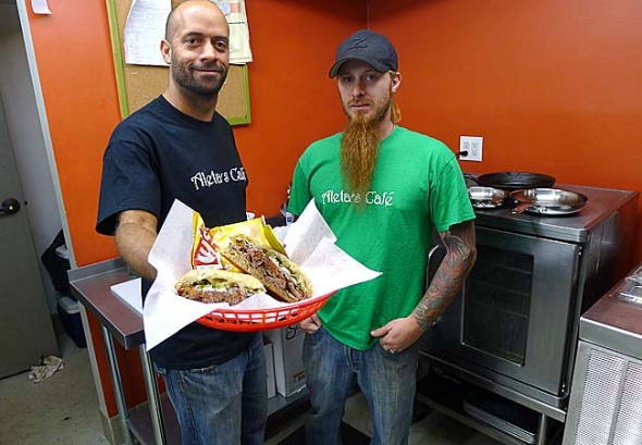 Matthew Willis and Gregg Pastorelle will open Aleta's Cafe in the Oten Gallery on Xenia Avenue next spring, with occassional hours until then. Willis and Pastorelle, who have worked in local restaurants and played together in local heavy-metal bands, hope the panini sandwiches, Naan bread pizzas and salads in their music-themed restaurant appeal to a local crowd. (Photo by Megan Bachman)