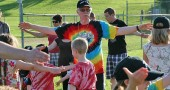 Coach Jimmy warming up with the kids before t-ball last Friday night. (photos by Suzanne Szempruch)