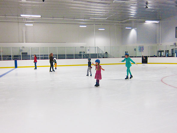 taking laps around the rink