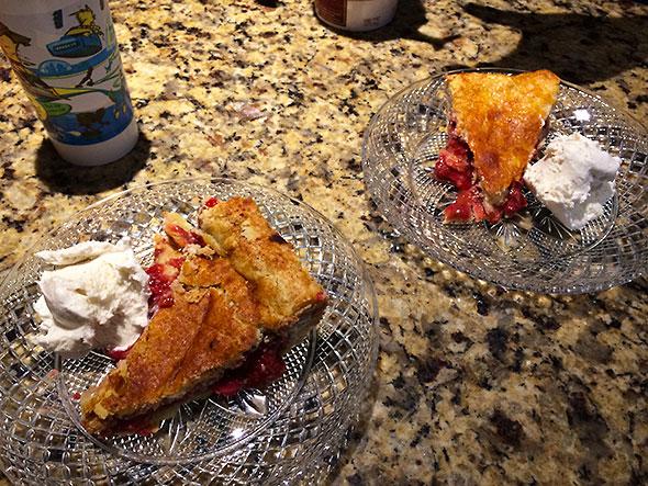 pie slices with vanilla ice cream