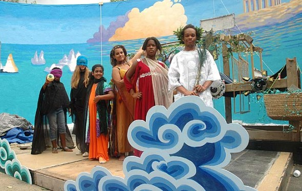 """Gods and goddesses of Roman myth will do battle in the Antioch Amphitheater during this summer's Yellow Springs Kids Playhouse production, """"Superhuman Happiness."""" Some of the 49 youth in the show are, from left, Nia Dyer (Helen), Sammie Woolley (Clara), Zoe Williams (Arachne), Chekinah Williams (Ceres), Reese Elam (Juno), Jaylen Mitchell (Jove). """"Superhuman Happiness"""" runs July 10–13 and July 17–20. (Photo by Megan Bachman)"""
