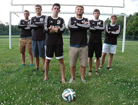 Seniors of the Yellow Springs High School boys soccer team are, from left, Nathan Miller, Fielding Lewis, Jared Scarfpin, Ian Chick, Liam Creighton and Sam Butler. The team hosts a pre-season tournament this weekend at YSHS. (Photo by Megan Bachman)