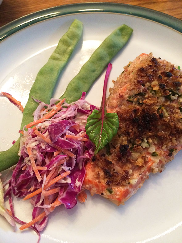 broiled trout with slaw
