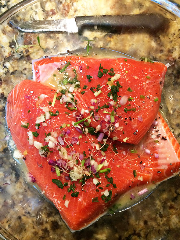 trout in an orange based marinade