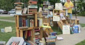 A great display of books, old and new, at the corner of Walnut and Elm streets. (submitted photo by Kate Mooneyham)