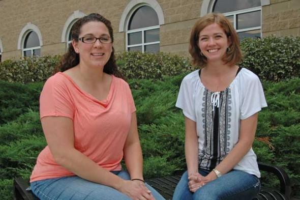 New to Mills Lawn this year are fourth-grade teacher Cheryl Devine, left, and fifth and sixth grade special education teacher Renée Hatert. The two joined other district teachers this week for several days of professional development at AU Midwest before school starts Friday. (photo by Lauren Heaton)