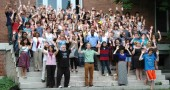 About 120 members of the Antioch College and village community joined a Hands Up Walk Out on Monday to commemorate the funeral of Michael Brown, who was killed by police in Ferguson, Mo., on Aug. 9.