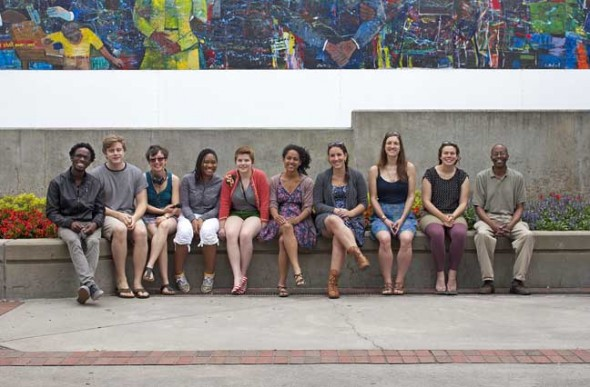 Antioch College students, faculty, and staff on their way to Jackson, Mississippi sit in front of the Martin Luther King, Jr. Center for Nonviolent Change in Atlanta, Georgia.