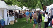 "Visitors stroll the grounds at Mills Lawn during the annual ""Art on the Lawn"" art and craft show. (Submitted photo)"