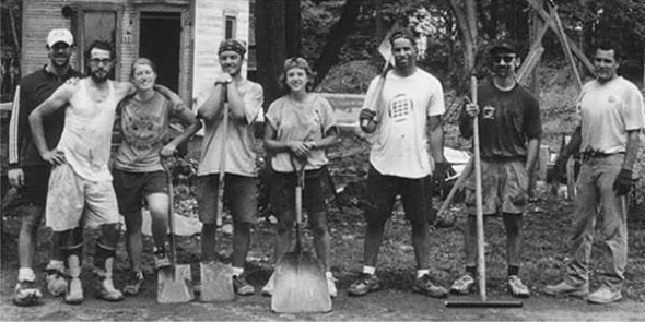 The first team of volunteers who helped on the first Home, Inc. house back in 2001. (archive photo from Home, Inc.)