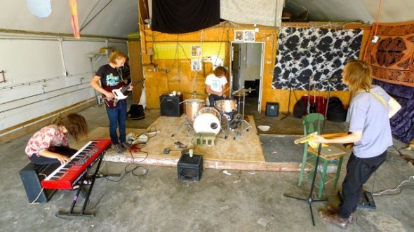 Speaking Suns, from left, Sam Salazar, Conor Stratton, David Bryne and Jacob Diebold, practicing at the Quonset Hut in Yellow Springs