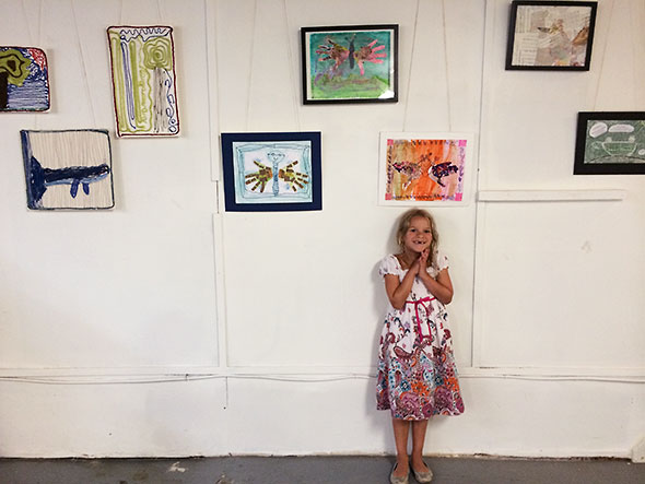 one of the artists at the opening