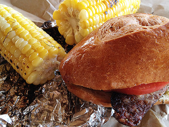 pork sandwich and a side of corn from La Pampa Grill