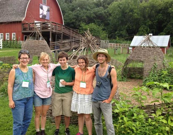Antioch College students went on a transformative field trip over the summer to see the latest developments in sustainable agriculture. Attending the Seed Saver's Exchange annual conference in Decorah, Iowa were, from left, Antioch Instructor of Cooperative Education Beth Bridgeman with students Charlotte Pulitzer, Keegan Smith-Nichols, Lauren Gjessing and Gabe Amrhein. Seed Saver's Exchange is the largest non-governmental seed bank in the world. (Submitted photo)