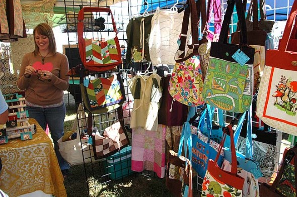 Bags made of recycled materials were among the many handmade items offered at last year's Cyclops Festival. This year's event takes place this Saturday, Sept. 13, from 10 a.m. to 7 p.m. at the Bryan Center lawn. (News archive photo by Megan Bachman)