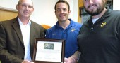 The staff of the Village wastewater treatment plant was honored recently by the Ohio Water Environment Association for nine years without a safety violation or time lost to an accident. Pictured receiving the OWEA George W. Burke Award at Monday's Council meeting are, from left, Superintendent of Water and Wastewater Joe Bates; Operator I Richard Stockton and Operator II Brad Ault. (Photo by Diane Chiddister)