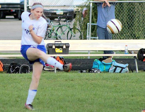 Yellow Springs High School soccer player Jesi Worsham launched the ball during a clearance against West Liberty Salem  on Thursday, Sept. 18. The Lady Bulldogs lost 4–0. (Submitted photo by Jimmy DeLong)