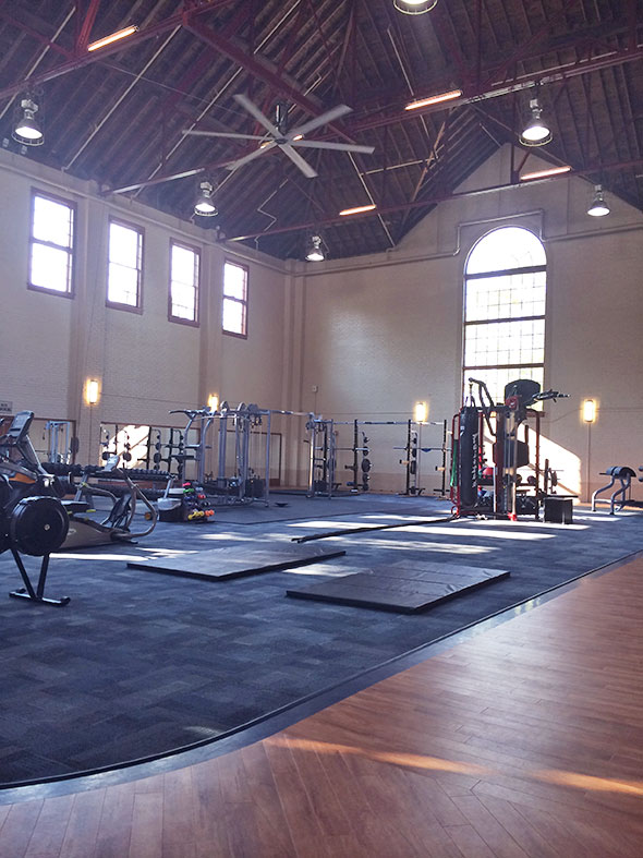 fitness room with walking track