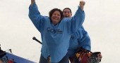 Villager Delaine Adkins, shown here with teammate Marianne Dorman, brought home a gold medal for intermediate hockey from the August 2014 Gay Games, held in Cleveland. (Submitted photo)