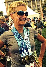 Kristine Hofstra, left, won four gold medals in biking events in the 2014 Gay Games. (Submitted photo)