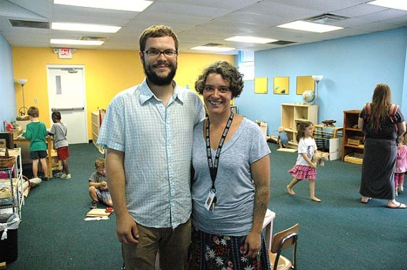 Edward and Melanie Ricart started the Yellow Springs Children's Montessori Cooperative three years ago, which this fall moved into the Sontag-Fels building at Antioch College. There are 19 students between ages 2 and a half to 6 in the program, which is currently full but open to observations and waiting list additions. (Photo by Megan Bachman)