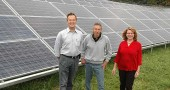 Antioch College personnel, solar project finance advisor Doug Hull, Physical Plant Director Reggie Strattion and Andi Adkins, VP of administration and finance, invite the public to tour the new campus solar array.