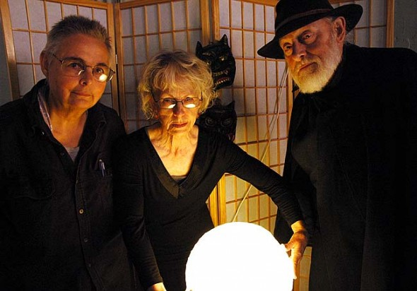 Harold and Jonatha Wright wrote and Sherraid Scott illustrated 'Flesh Crawling Tales from Old Japan,' published this month in time for Halloween. The authors will host a signing on Sunday, Oct. 19, 3–5 p.m. at the Arts Council Gallery on Corry Street, where Scott will also do a printmaking demonstration. (Photo by Lauren Heaton)