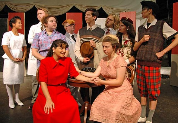 The Yellow Springs High School Theater Arts Association presents 'Harvey,' the 1944 Pulitzer prize-winning play by Mary Chase. Cast members are, from left, sitting in front, Anna Knippling, Kaila Russell; middle row, Allison Bothwell, Josh Seitz, Sierra Ward, Jonah Trillana; back row, Shekinah Williams, Alex Kellogg, Simone Collins, Windom Mesure. (Photo by Megan Bachman)