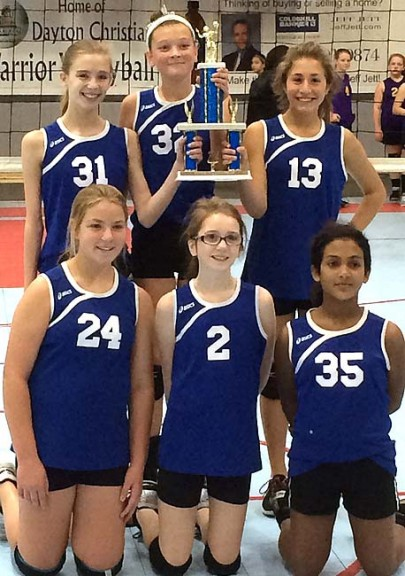 The McKinney School seventh-grade girls volleyball team won the Metro Buckeye Conference title and the conference tournament this year, finishing 7–2 and going 2–0 in the tournament to bring home the MBC trophy. Players are, from left, front row, Olivia Snoddy, Abby McAnearney and Zoey Williams; back row, Riley Duncan, Tyler Linkhart and Areli Erazo. Not pictured is Jane Meister. (Submitted photo by Coach Bubba Worsham)