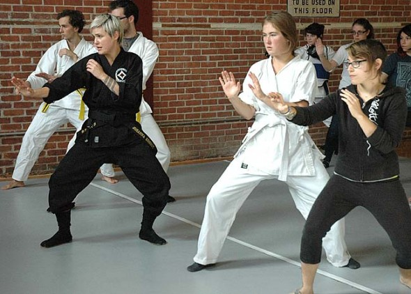 Johanna Kohout, black belt instructor of To Shin Do, here teaching self-defense classes to Antioch College students, will offer a free self-defense workshop for Yellow Springs High School junior and senior girls from 10 a.m. to 5 p.m. Friday, Nov. 7, during a teacher in-service day. A shorter self-defense workshop for YSHS sophomore girls is 1 to 4 p.m, Saturday, Nov. 8. Kohout also hopes to offer local To Shin Do classes to adults and children. (Photo by Megan Bachman)