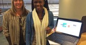 "Linda Rudawski, left, and Antioch College student Kabbeh Davies are gathering information for the Village Human Relations Commissions' online directory ""Yellow Springs Help,"" a comprehensive resource for those in need. A website training for local providers to input their information is 3 to 5 p.m. Tuesday, Nov. 18, at Friends Care Community Skilled Nursing Center. RSVPs are required. (Photo by Megan Bachman)"