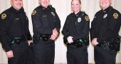 The four new Yellow Springs police officers who joined the department this year greeted community members at an event on Monday, Nov. 17, at the John Bryan Center.