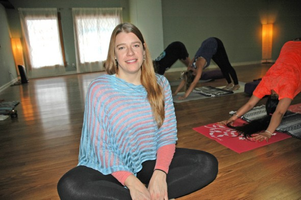 Jen Ater will host a grand opening for the expansion of her yoga studio, Inner Light Yoga & Wellness, on Saturday, Dec. 6, at the Beavercreek studio. The studio will offer free yoga from 10 a.m.–4 p.m. as well as refreshments and membership discounts at the opening. Ater welcomed students to the studio's first class on Monday, Dec. 1. (photo by Lauren Heaton)