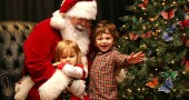 Twins Sophia and Sam Burns visited Santa at the Glen building on Saturday. (Photo by Suzanne Szempruch)