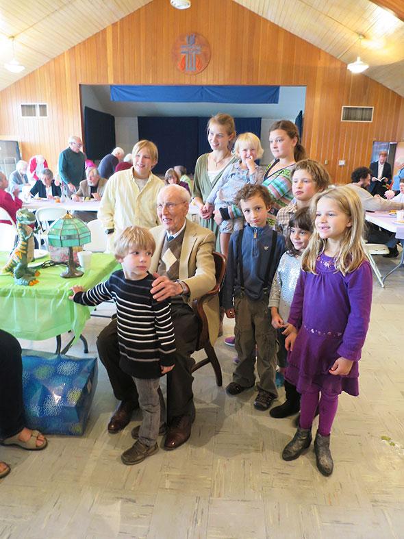 Lloyd among the children
