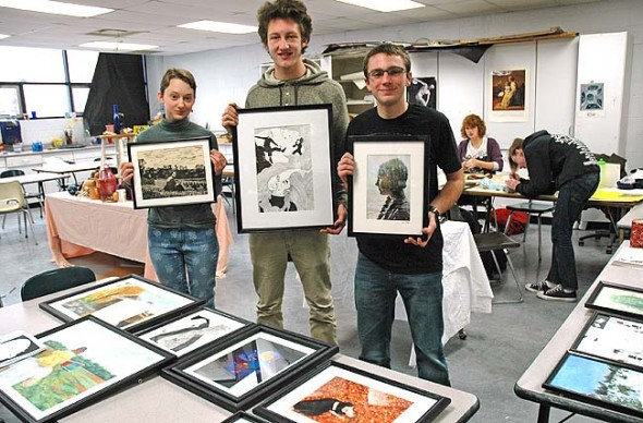 The Yellow Springs High School advanced art class will hold a student art show, Views of the Village, at the Village Artisan's Gallery, 100 Corry St., during the month of January. An opening event will take place on Friday, Jan. 9, 6–8 p.m. Some of the artists include, from left, Nadia Mulhall, Tom Amrhein and Lake Miller. (Photo by Lauren Heaton)