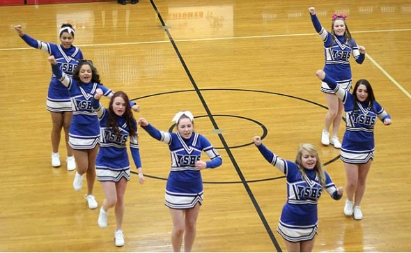 YSHS cheerleaders buoyed the YSHS boys basketball team at Greenon, where the Bulldogs came out with a 70-35 victory. From left to right are Mar'ria Miley, Nekyla Hawkins, Kara Edwards, Chelsea Horton, Sarah Jako, Modjeska Chavez and Jesi Worsham. Not pictured is Ashlei Kelly and Ashley Longshaw.