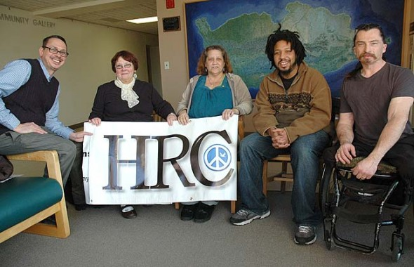 The Yellow Springs Human Relations Commission, or HRC, will host a meet-and-greet with the public next Thursday, Jan. 29, from 7–9 p.m. at Bryan Center rooms A and B. Shown above are HRC members, from left, Brian Housh, Kathryn Hitchcock, Chrissy Cruz, Steve McQueen and Nick Cunningham. (Photo by Lauren Heaton)