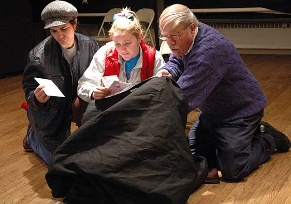 "The Yellow Springs Theater Company presents the Yellow Springs Ten Minute Play Festival on Friday and Saturday, Jan. 30–31, 7:30 p.m. at the First Presbyterian Church. Admission is $10 at the door. Here, from left, Sommer McGuire, Krissy Hartman and Ron Weber rehearse Jerry Holt's play, ""Bagged."" (Photo by Lauren Heaton)"
