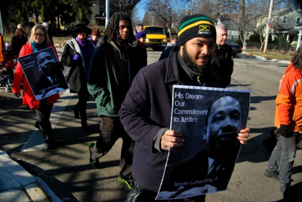 Villagers marched through the streets of Yellow Springs to celebrate the life of Martin Luther King Jr (photo by Aaron Zaremsky)