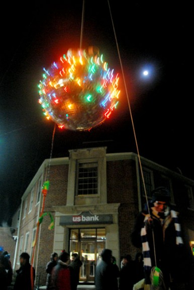 The New Year's ball descends upon the crowd.