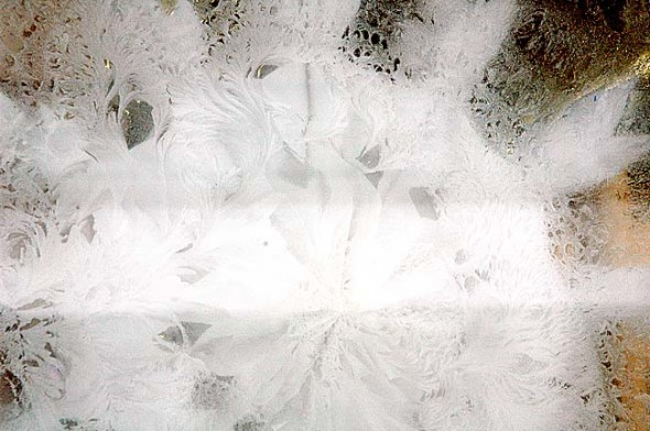 Ice flowers formed on the inside of windows last year during January's big freeze. Today ice on roads makes travel hazardous and has delayed Yellow Springs Schools by two hours. (Photo by Lauren Heaton)